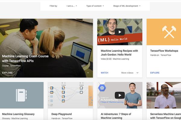 Giao diện trang web Learn with Google AI - ẢNH CHỤP LẠI TỪ MÀN HÌNH