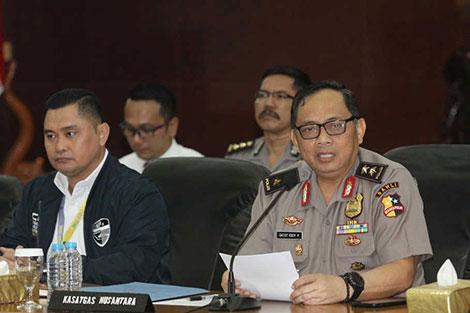 Lãnh đạo lực lượng cảnh sát Indonesia thông tin về hoạt động của MCA trong cuộc họp báo ngày 5-3.